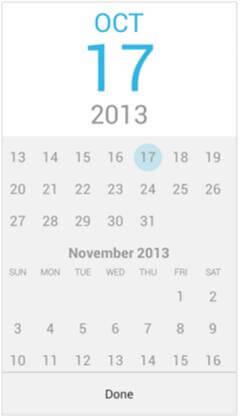 выбор даты для мобильного сайта